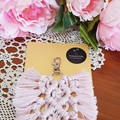 Blush Pink and Cream Feather Macrame Bag Charms. Bridal Shower, Free Delivery