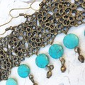 Pretty Bronze Tone Metal Mandala Charm Faux Turquoise Hippy Bo-ho Earrings