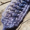 Crocheted headband, collar or cuff.  made from purple and mauve wool/soy yarn