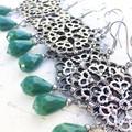 Pretty Metal Mandala Charm Green Jade Glass Drop Earrings