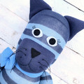 'Calvin' the Sock Cat - blue stripes - *READY TO POST*