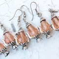 Sweet Whimsy Pink Cut Glass Crystal Pink Drop Teapot Metal Charm Earrings