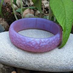 SALE Floral Bangle  - purple resin flower carved bracelet