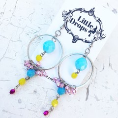 Unicorn Candy Inspired Czech Crystal Pastel Pink Blue Hot Pink Metallic Earrings