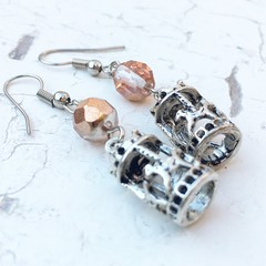 Sweet Whimsy Pink Peach Czech Crystal Carousel Metal Charm Earrings
