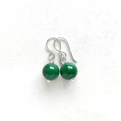 Beautiful Green Chalcedony Gemstone & Sterling Silver Earrings, Unique Gift