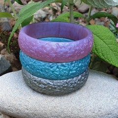 SALE Floral Bangle  - resin flower carved bracelet silver, blue or purple