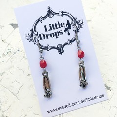 Sweet Whimsy Red Czech Crystal Shoe Dorothy Slipper Metal Charm Earrings