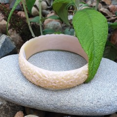 SALE Floral Bangle  - cream pink resin flower carved bracelet