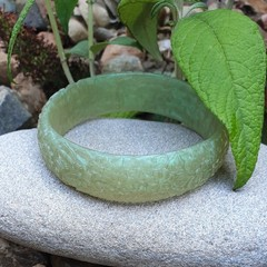 SALE Floral Bangle  - green resin flower carved bracelet