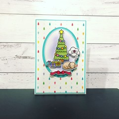 Handmade Christmas card with dog