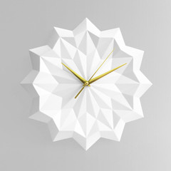 White origami wall clock - ELLA
