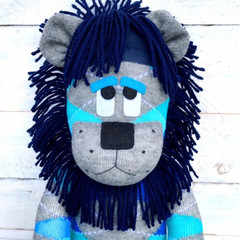 'Lance' the Sock Lion - blues and grey argyle - *READY TO POST*