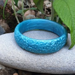 SALE Floral Bangle  - blue resin flower carved bracelet
