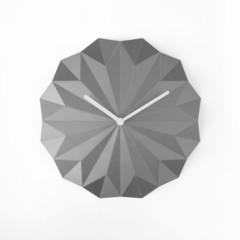 Silver origami wall clock - SOLA