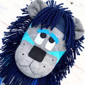 'Lance' the Sock Lion - blues and grey argyle - *MADE TO ORDER*