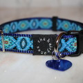 Prussian Blue Dog Collar with personalised engraved tag.