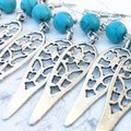 Pretty Arrow Feather Cut Out Charm Faux Turquoise Hippy Bo-ho Earrings