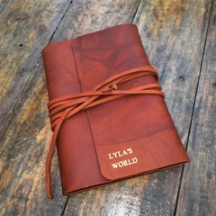 Journal Leather Cover. Personalized, Name. Custom Handmade Diary, For Book
