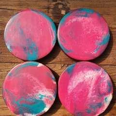 Coasters ( 4 set) Pink & Blue