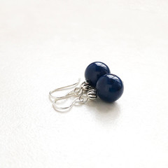 Lapis Lazuli Gemstone & Sterling Silver Earrings, Unique Gift