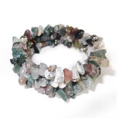 Moss Agate – Gemstone Chip Bracelet