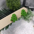 Christmas Tree Green - Button Stud Earrings