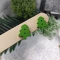 Christmas Tree Green - Button Stud Earrings