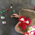 Mini Bows / Christmas Outfit / Hair Elastic / Bows / Ponytail (Matching Set)