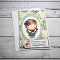 Birthday card with hula girl, tropical card, Hawaiian theme
