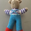 """Mini-Bear"" (Blue) Hand Knitted in Patons Bluebell Yarn"