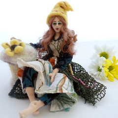 Art Doll, posable fairy, needle felted mushroom, fairy garden, girl's bedroom, u