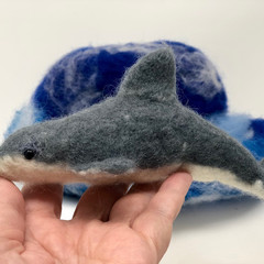 OOAK felt dolphin, wet felted animal, marine decor, soft sculpture