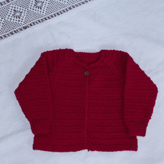 Baby cardigan or jacket, hand knit, wool, size 00