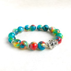 Beautiful Painted Glass Bead Bracelet, Unique Gift