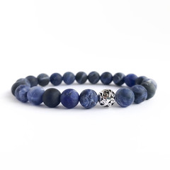 Blue Sodalite Gemstone & Filigree Sterling Silver Beaded Bracelet, Unique Gift