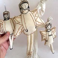 Christmas Angels, art dolls, tree ornaments, OOAK, set of three, hand embroidere