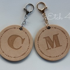 Personalised Timber Etched Keyring and Bag Tags