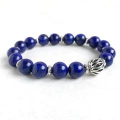 Lapis Lazuli Gemstone & Tibetan Bead Bracelet, Unique Gift, Vintage Style