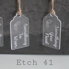 Clear Etched Christmas Tags