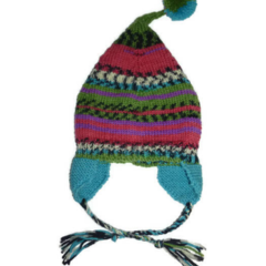 Knitted pixie hat with pom pom for 2-4 year old.
