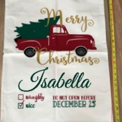 Customised Santa Sacks - Truck with tree