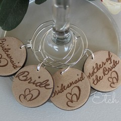 Personalised Timber Wine Charms