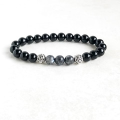 Black Onyx Gemstone & Labradorite Bead Bracelet, Unique Gift