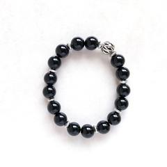 Black Agate Gemstone & Tibetan Bead Bracelet, Unique Gift, Vintage Style