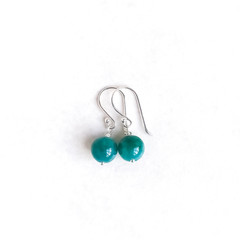 Teal Malaysian Jade & Sterling Silver Earrings, Unique Gift