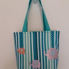 Beach tote bag – stripes with elephants