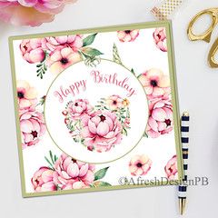 Tropical Pink Floral 3D Card