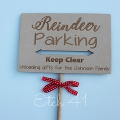 Personalised Santa and Reindeer Stop Here Sign Ground Spike