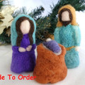Nativity Set, needle felted, Free Shipping, Made To Order, Waldorf style dolls,
